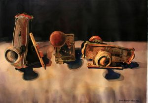 Doorknobs, antique, dark, brass, Watercolor painting, Laurie Goldstein-Warren