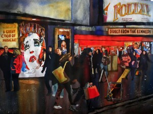 New York City, theatre, billboards, people, walking, watercolor, painting, Laurie Goldstein-Warren