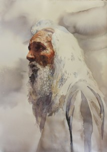 Elijah, Old Testment, watercolor, white hair, beard, painting, bible