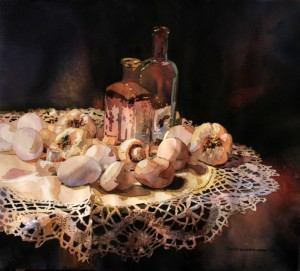 Still Life, Lace, garlic, eggs, glass, mushrooms, watercolor, painting, Laurie Goldstein-Warren