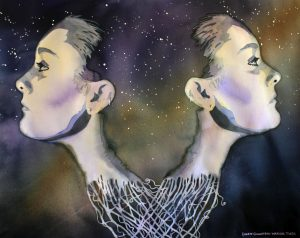Gemini, twins, stars, surrealism, watercolor, painting, Laurie Goldstein-Warren