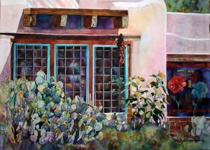 New Mexico, watercolor, Laurie Goldstein-Warren, prickly pear, sunflowers