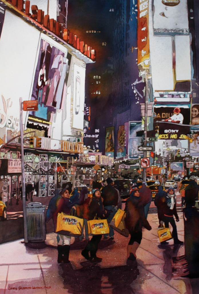 Times Square, New York City, Lights, Night, watercolor. painting, Laurie Goldtien-Warren