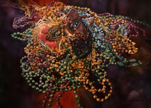 Mardi Gras, Beads, Mask, purple, green, gold, watercolor painting, Laurie Goldstein-Warren