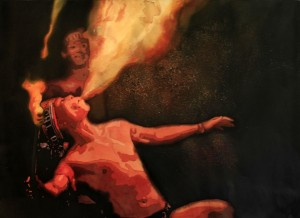 Fire Eater, fire, acrylic, painting