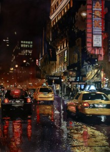 New York, City, Taxi, rain, reflections, traffic, wet, watercolor, painting, Laurie Goldstein-Warren