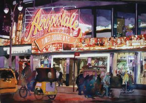 New York City, Pedicab, Aeropostale, street scene, Watercolor, Laurie Goldstein-Warren