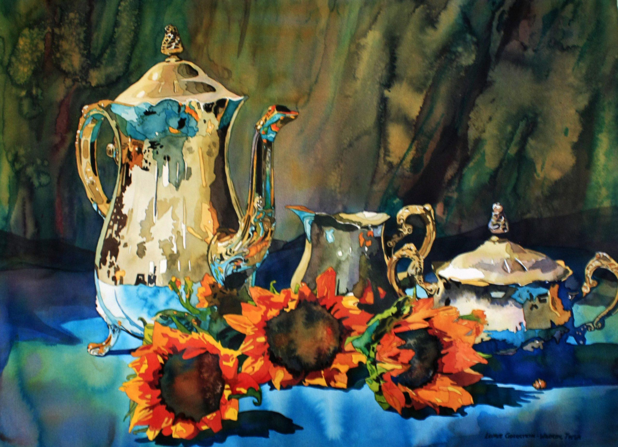 Sunflowers, Silver, Tea, Blue, watercolor, Laurie Goldstein-Warren