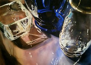Glass, Reflections, Watercolor, painting, Laurie Goldstein-Warren