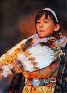 Native American, Dancer, Watercolor, Painting Laurie Goldstein-Warren, Girl