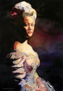 Marie Antoinette, Laurie Goldstein-Warren, watercolor, painting, dark