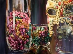 Mardi Gras, Glass, Mask, Beads, Watercolor, Painting, reflection