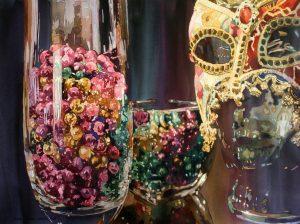 Mardi Gras, Glass, Mask, Beads, Watercolor, Painting, reflection