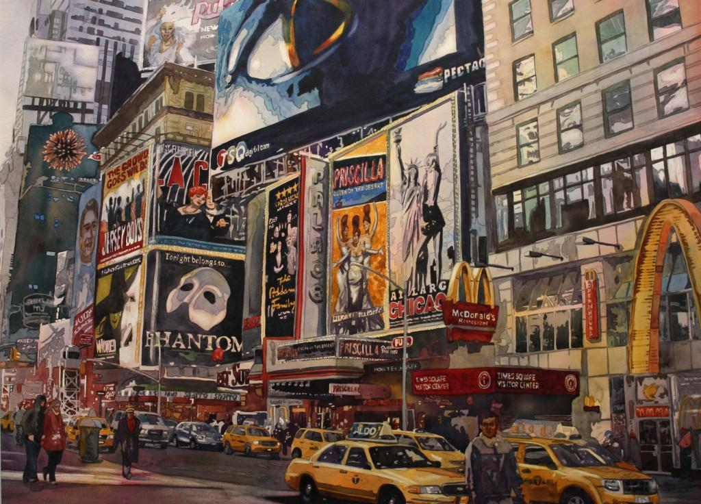 Broadway, New York City, Watercolor, art, street, musicals